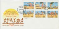 02/12/1987 Tokelau Islands FDC Olympic Sports set of 6 on illustrated official cover, unaddressed